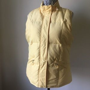 Talbots Goose Down Yellow Zippered Vest w/hood